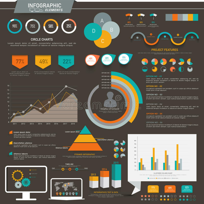 Business Infographic elements set. A big set of creative colorful Infographic elements with various graphs and bars for business presentation vector illustration