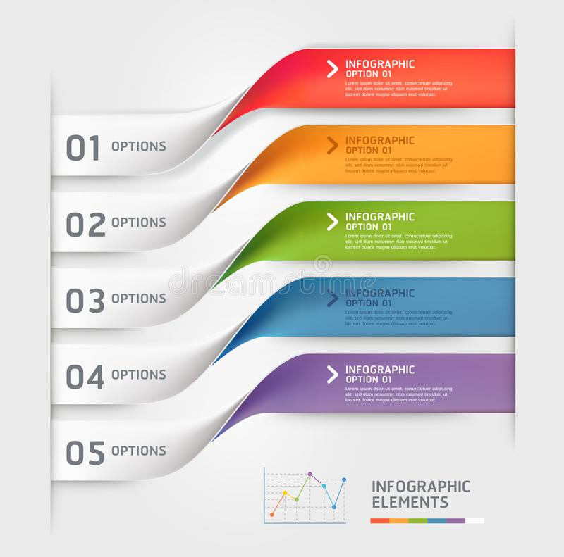 Business infographic elements template. Vector illustrations. Can be used for workflow layout, banner, diagram, number options royalty free illustration