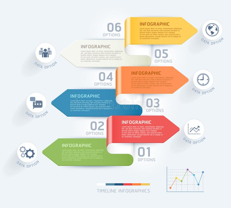 Business infographic elements template. Vector illustrations. Can be used for workflow layout, banner, diagram. Number options, web design, timeline template royalty free illustration