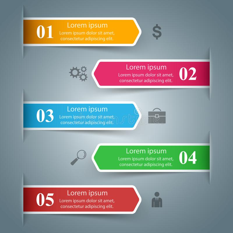 Business infographic. Five color items. Marketing icon. royalty free illustration