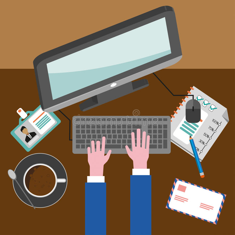 Business infographic with icons, computer and typing keyboard, flat design stock illustration