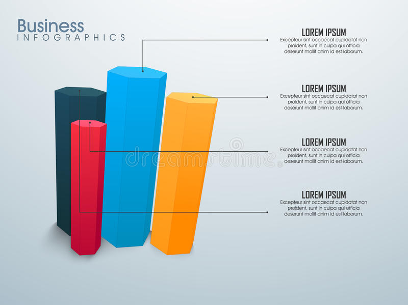 Business Infographic layout with elements. Business Infographic layout with colorful 3D statistical bar stock illustration
