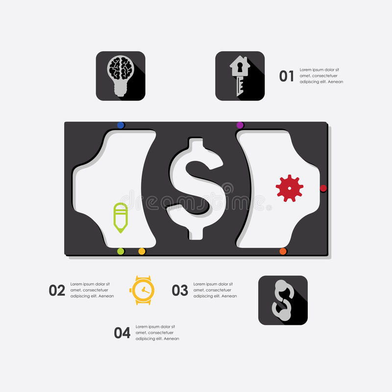 Business infographic. Business line infographic. Vector illustration. Fully editable file royalty free illustration