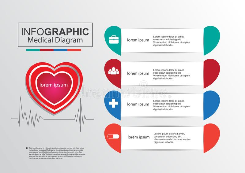 Business infographic medical diagram vertor heart. Graph, chart, project, plan, form, education, numbers, file, data, icon, template, timeline, diagram, medical royalty free illustration