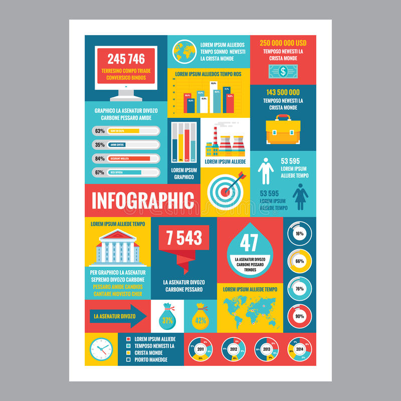Business infographic - mosaic poster with icons in flat design style. Vector icons set. stock illustration