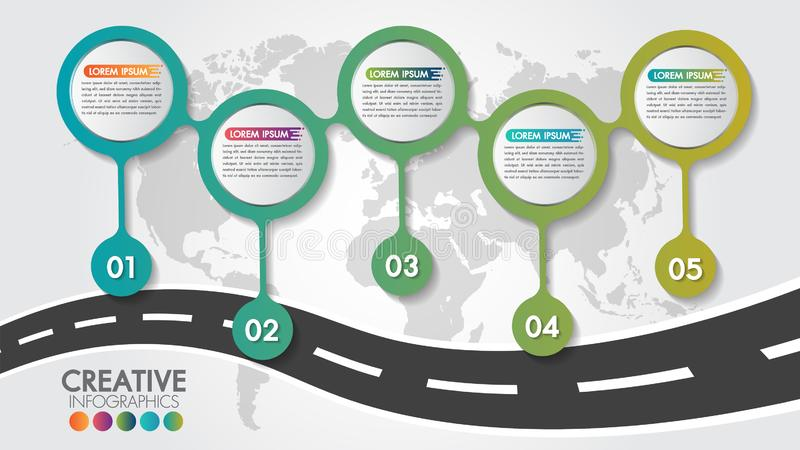 Business Infographic navigation map road design template with 5 steps or options and 5 numbers options. Can be used for process vector illustration