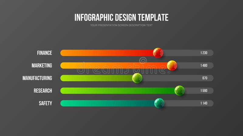 Corporate business analytics report horizontal bar chart design layout. Business infographic presentation vector 3D colorful balls illustration. Corporate vector illustration