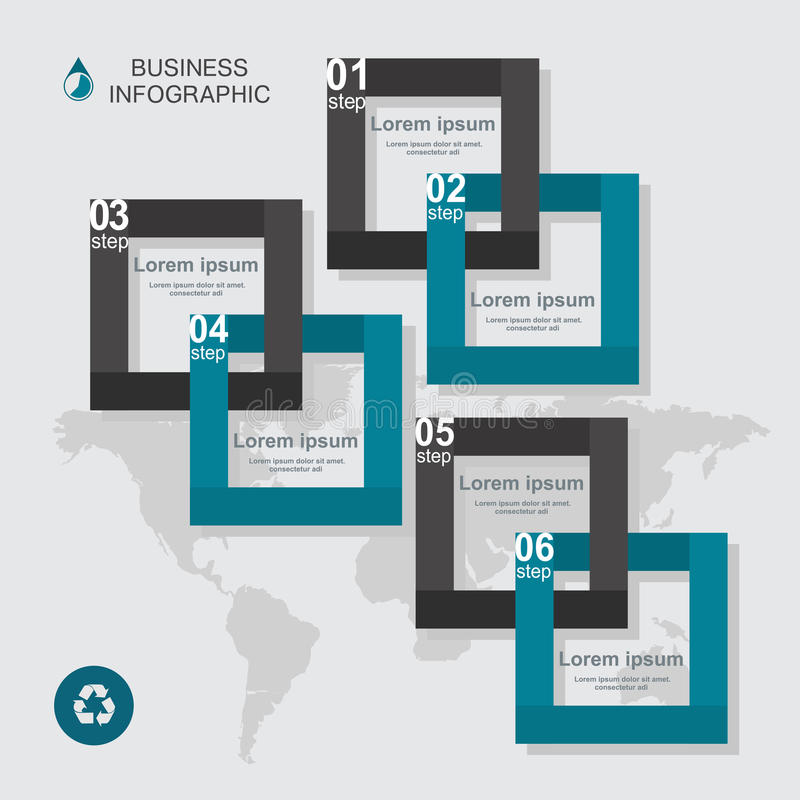 Business infographic square in flat design. Layout for your options or steps stock illustration