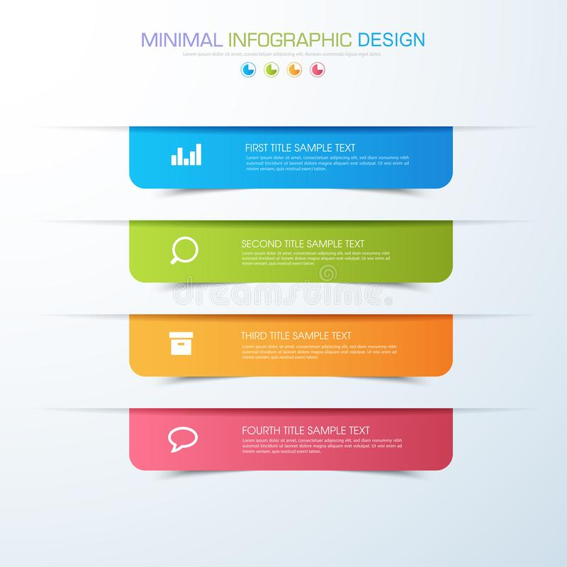 Business infographic template the concept is circle option step with full color icon can be used for diagram infograph chart. Business presentation or web stock illustration