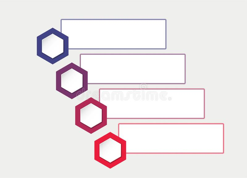 Business infographic template with hexagons and text boxes. four steps process flowchart vector illustration