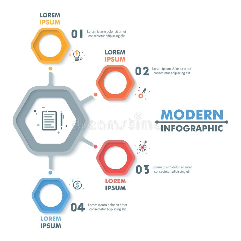 Business Infographic Template. Modern Hexagonal Infographics Tim vector illustration