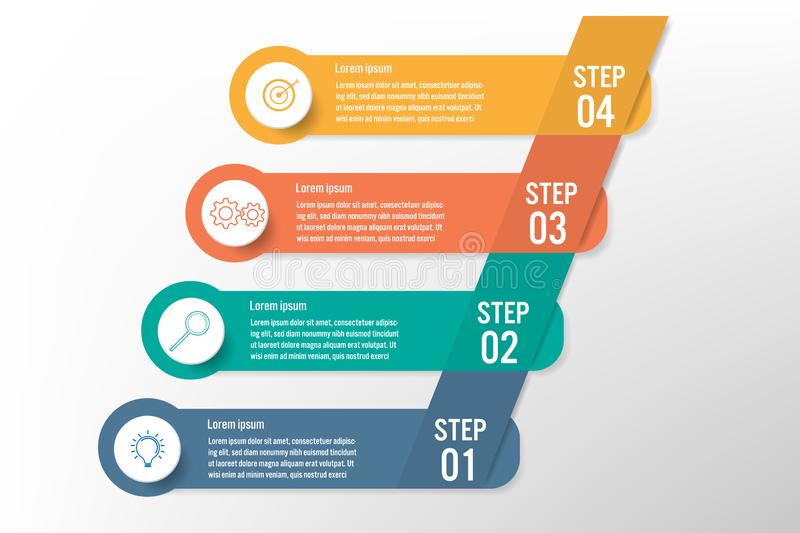 Business infographic template with 4 options, Abstract elements diagram or processes and business flat icon, Vector business vector illustration