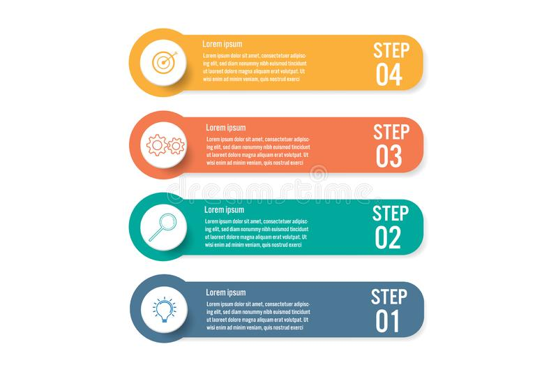 Business infographic template with 4 options, Abstract elements diagram or processes and business flat icon, Vector business royalty free illustration