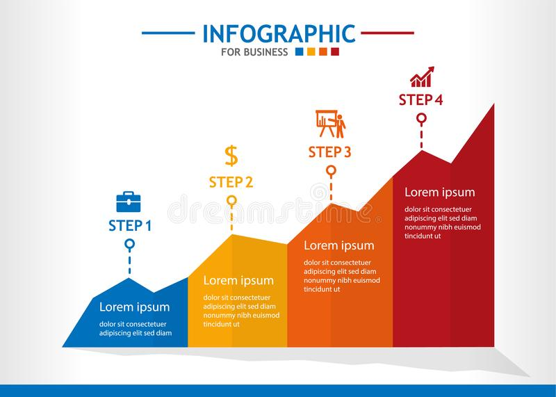 Business infographic template with 4 steps, Line chart diagram, Business data presentation. vector illustration