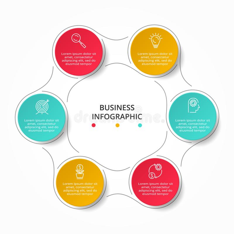 Business Infographic template. Thin line design with icons and 6 options or steps royalty free illustration