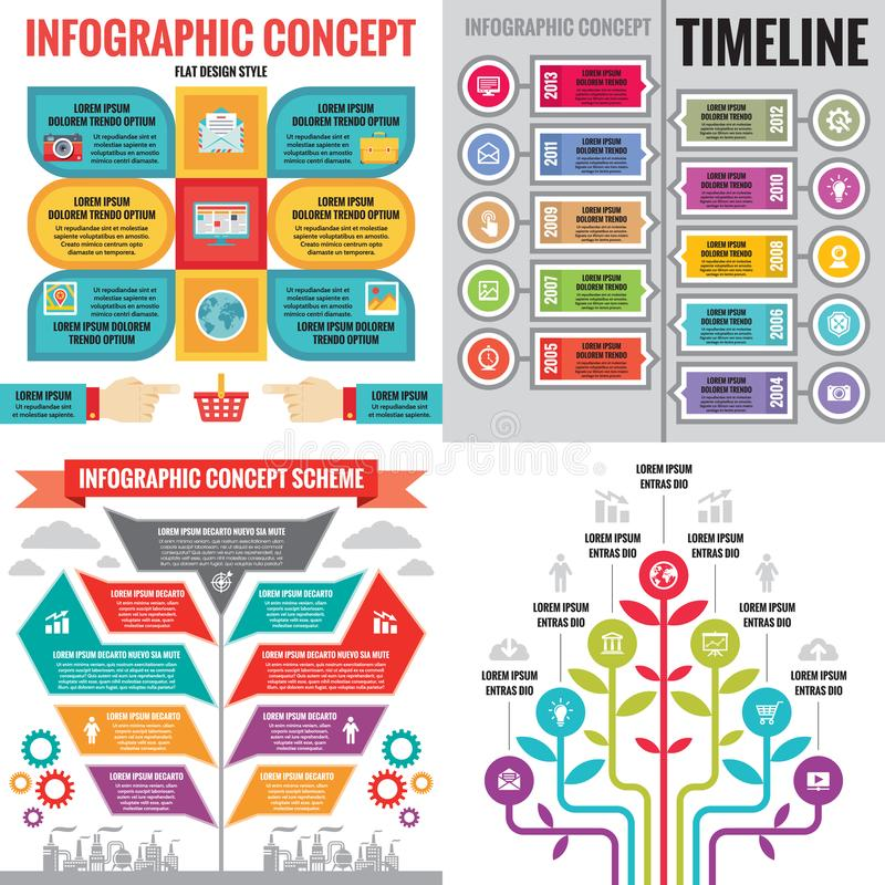 Business infographic templates concept vector illustration. Abstract banner set. Advertising promotion layout collection. Business infographic templates concept vector illustration