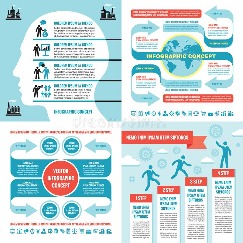 Business infographic templates concept vector illustration. Abstract banner set. Advertising promotion layout collection. Business infographic templates concept stock illustration