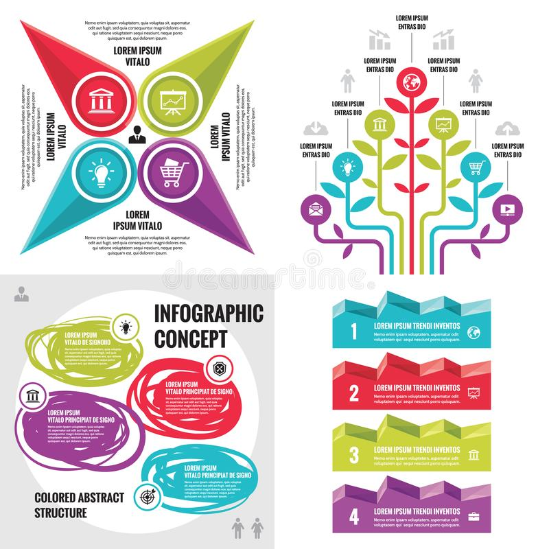 Business infographic templates concept vector illustration. Abstract banner set. Advertising promotion layout collection. Business infographic templates concept royalty free illustration