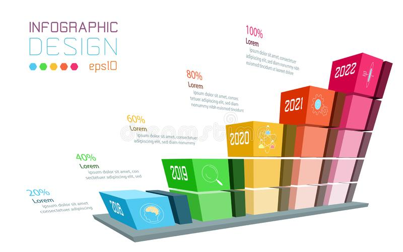 Business infographic on three dimensional graph bar. vector illustration