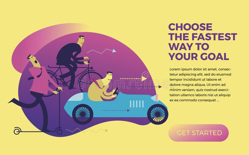 Business infographics, business situations. Men ride in different vehicles: scooter, bike, car. Make the right choice. vector illustration