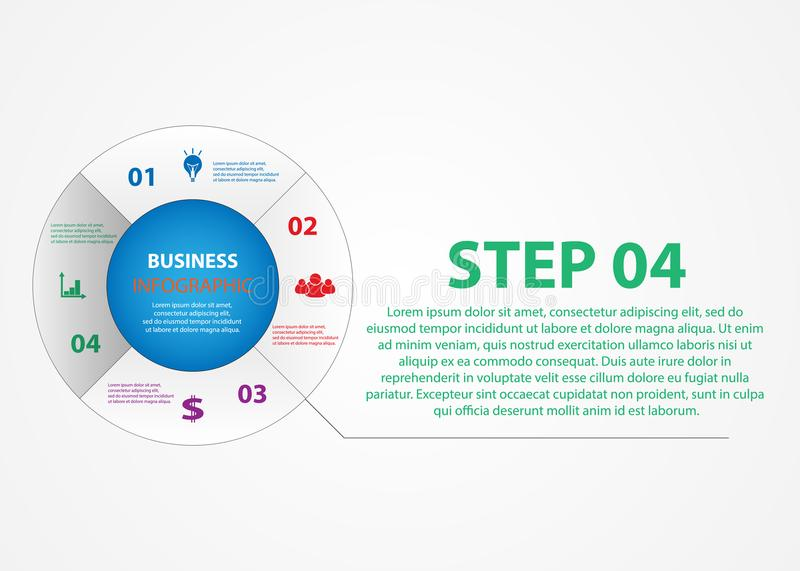 Business infographics, a circle with a choice of steps. stock illustration