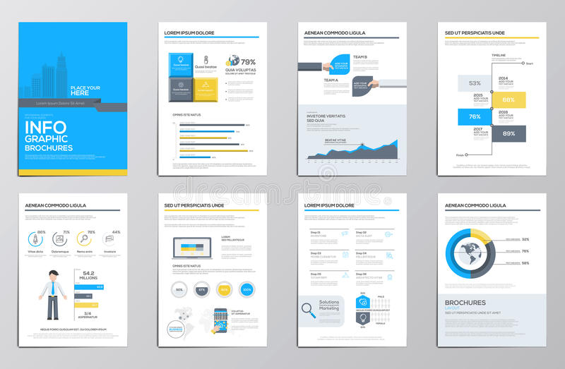 Business infographics elements for corporate brochures stock illustration