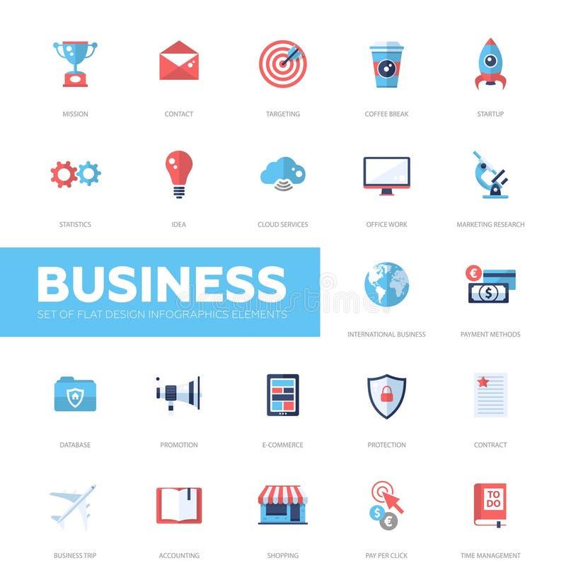 Business infographics flat design icons, web elements set vector illustration