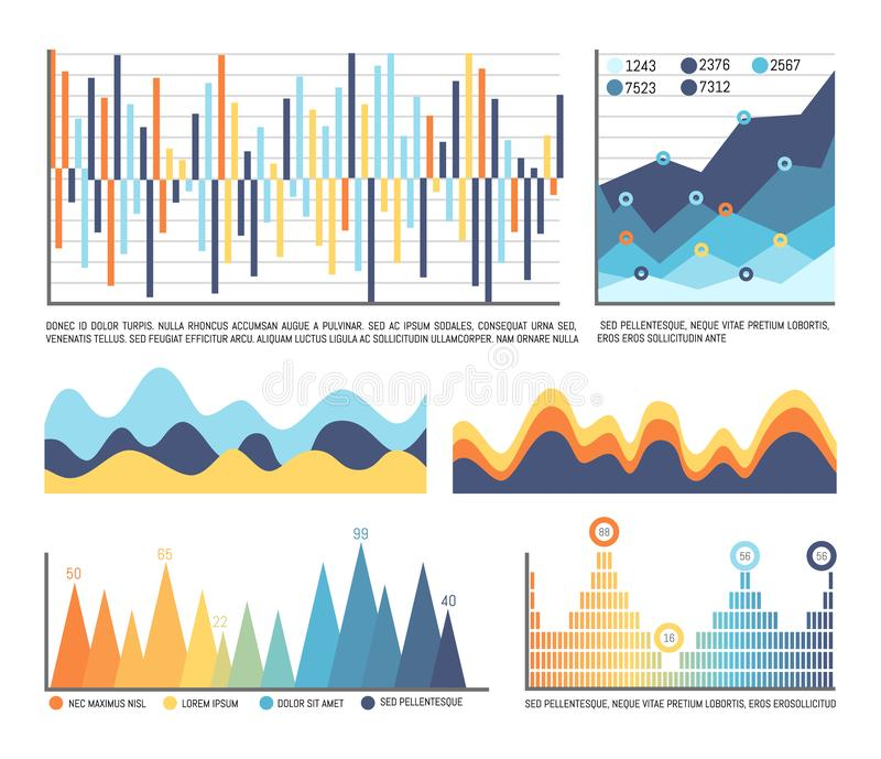 Business Infographics and Flowcharts in Color. Vector. Editable diagrams with numbers and shades, design of visual information representation in chart vector illustration