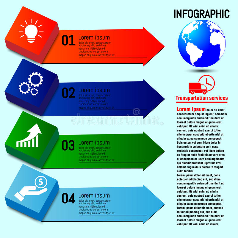 Business infographics. Four Options steps. Vector infographic element vector illustration