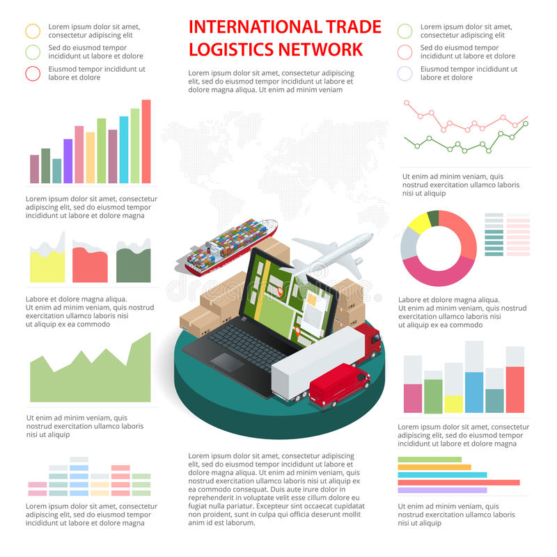 Business Infographics Global Logistics Network Vector illustration stock illustration