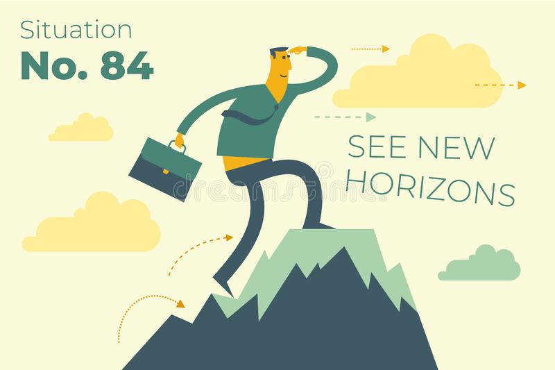 Business infographics with illustrations of business situations. businessman stands on top of success mountain. Top manager, leader achieved the goal. Vector stock illustration