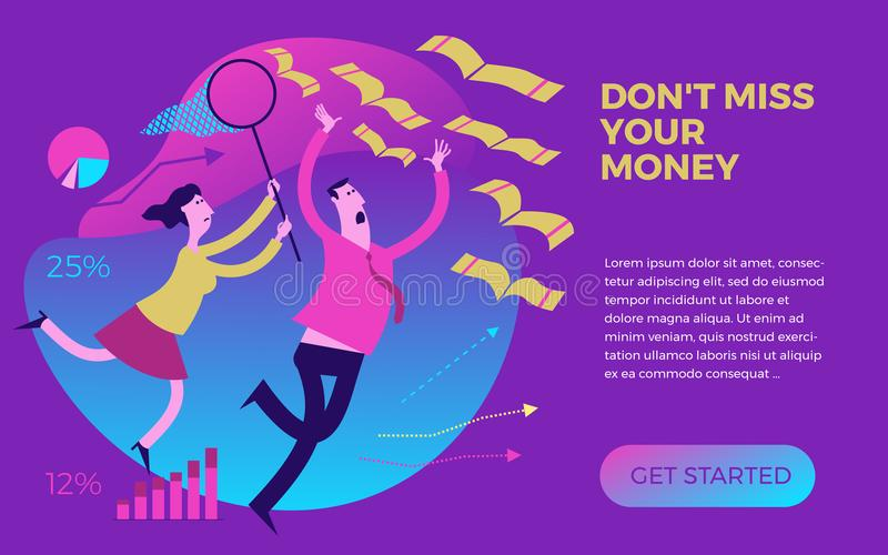 Business infographics with illustrations of business situations. Man and woman catching money with a hand and a butterfly net. stock illustration