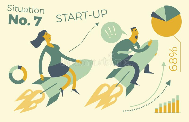 Business infographics with illustrations of business situations. A man and a woman flying a rocket up. Career growth. Sales and re vector illustration