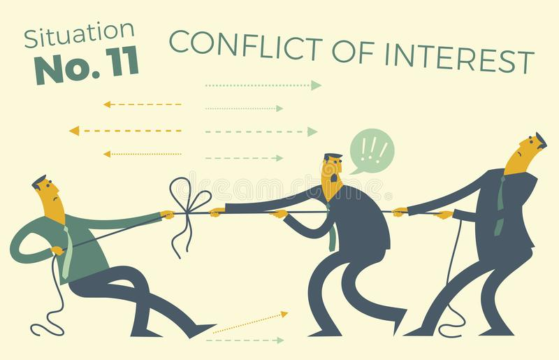 Business infographics with illustrations of business situations. People pull the rope, conflict of interest. Resolving difficultie stock illustration
