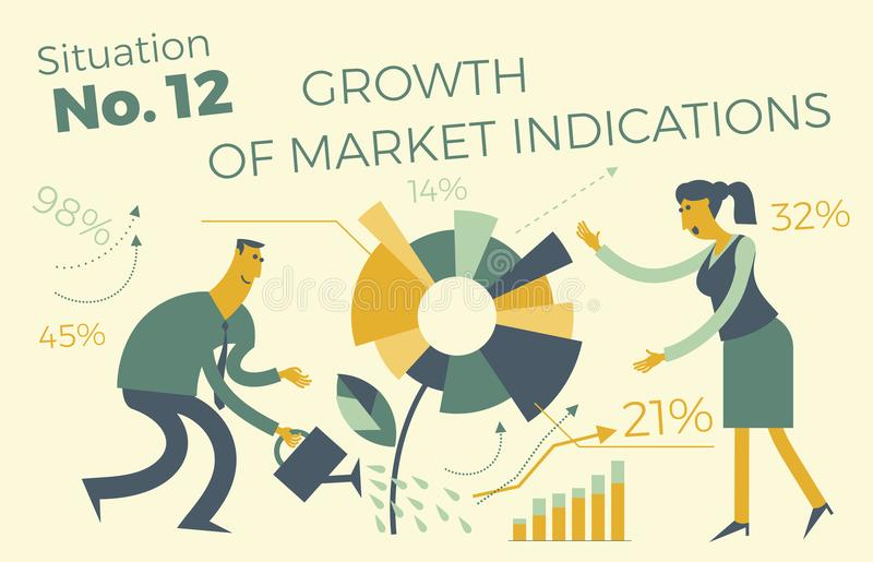 Business infographics with illustrations of business situations. Sales department. Project work. Growth in revenue and income. Exe royalty free illustration