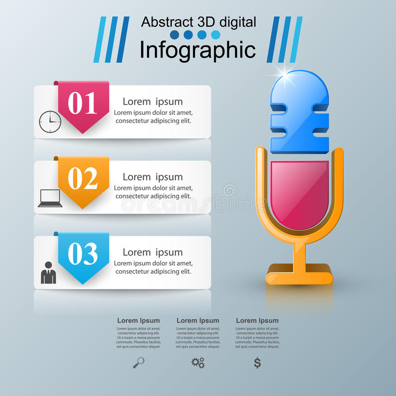 Download Business Infographics. Microphone Icon. Stock Vector - Illustration of creative, media: 93196317