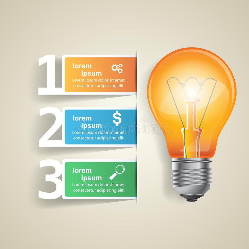 Download Business Infographics Origami Style Vector Illustration. Bulb Ic Stock Vector - Image: 69965933