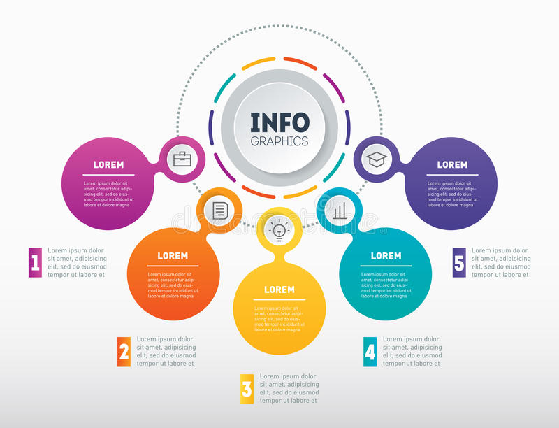 Business infographics or presentation with 5 options. Vector dynamic infographic of technology or education process with five par. Ts. Web Template of a chart stock illustration
