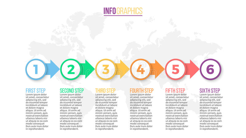 Business infographics. Presentation slide, chart, diagram with 6 steps, circles. Business infographics. Presentation slide, chart diagram with 6 steps vector illustration