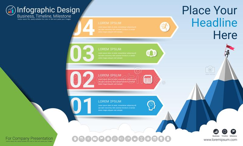 Business infographics report, Milestone timeline or Road map with Process flowchart 4 options. Business infographics report, Milestone timeline or Road map with stock illustration