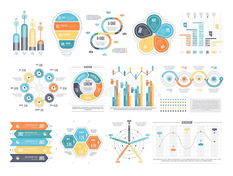 Arrangement of vector infographic templates stock illustration