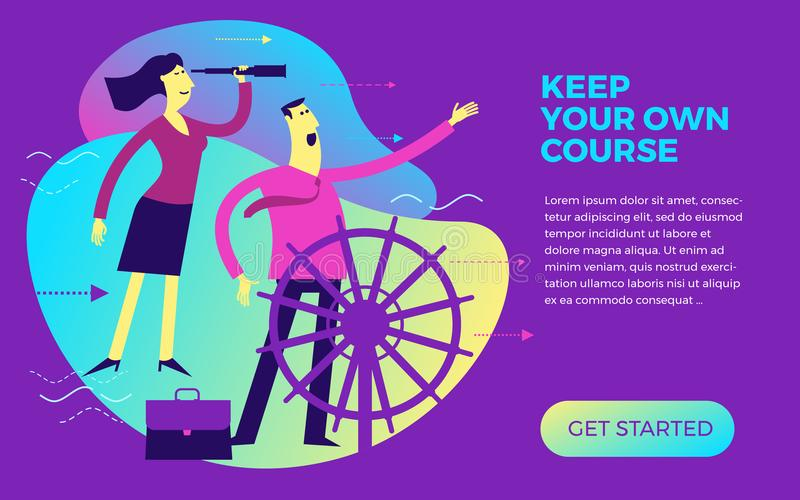 Business infographics, business situations. A man and a woman are at the helm. Team work, employees go to the goal in a single way stock illustration