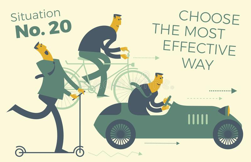Business infographics, business situations. Men ride in different vehicles: scooter, bike, car. Make the right choice, choose the royalty free illustration