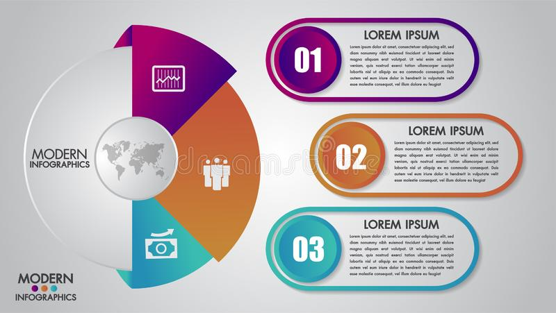 Business infographics template for diagram, graph, presentation and chart.Elements concept with 3 options, parts, steps or process. Es.Abstract background royalty free illustration