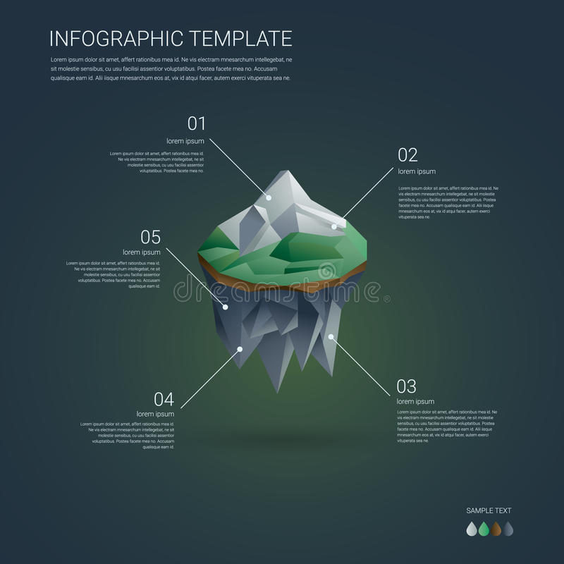 Business infographics template. Low poly floating stock illustration