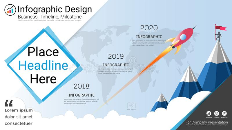 download business infographics template milestone timeline or road map with process flowchart 3 options