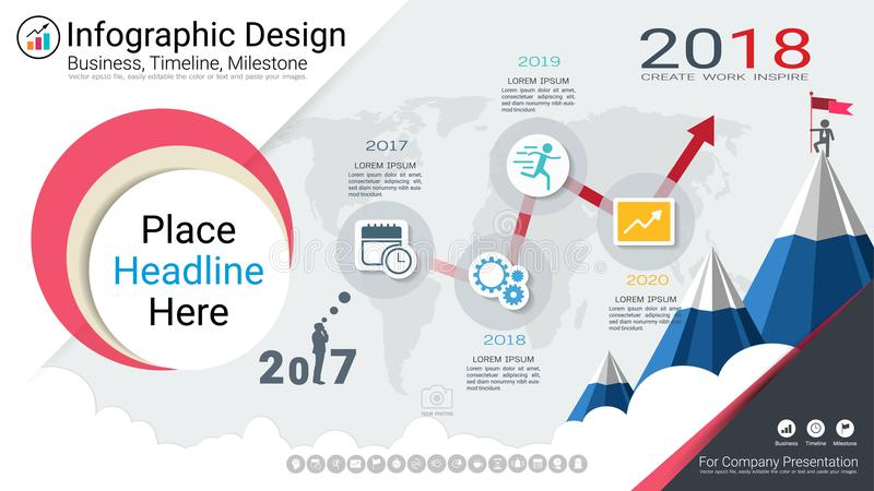 Business infographics template, Milestone timeline or Road map with Process flowchart 4 options. Business infographics template, Milestone timeline or Road map royalty free illustration