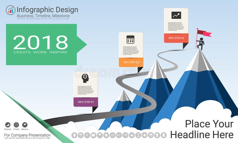 Business infographics template, Milestone timeline or Road map with Process flowchart 3 options. Business infographics template, Milestone timeline or Road map stock illustration