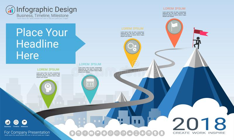 Business infographics template, Milestone timeline or Road map with Process flowchart 4 options. Business infographics template, Milestone timeline or Road map stock illustration