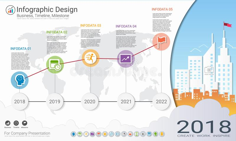 Business infographics template, Milestone timeline or Road map with Process flowchart 5 options. Business infographics template, Milestone timeline or Road map stock illustration
